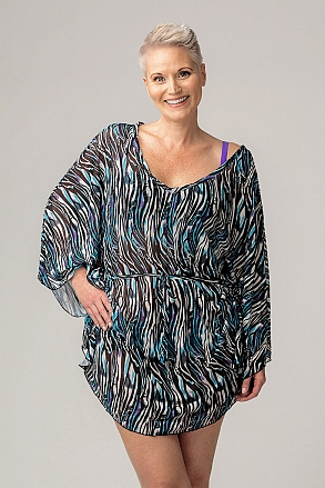 Beach poncho in zebra pattern for women from Sunkini.com