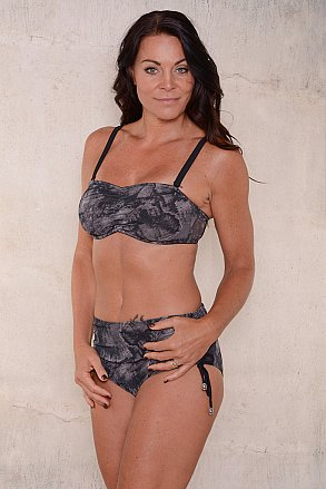 Black pattern bikini brief with high waist for ladies from Sunkini.