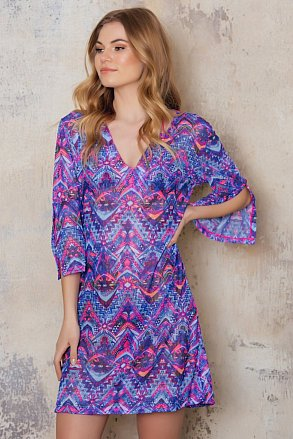 Beach tunic with purple pattern that's tan through