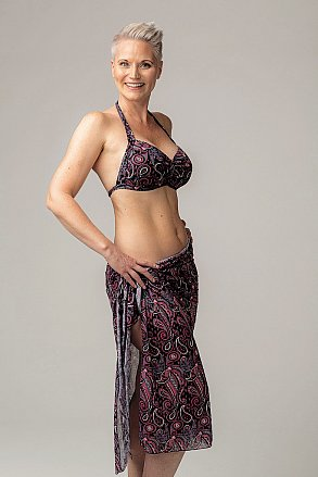 Purple pink paisley pattern long sarong for ladies from Sunkini.
