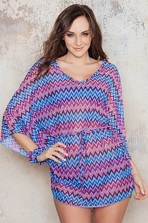 Beach poncho with pink and blue pattern from Sunkini