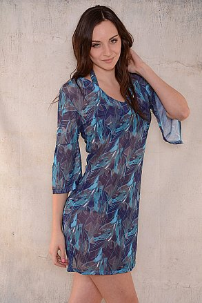 Blue green pattern beach tunic for ladies from Sunkini.