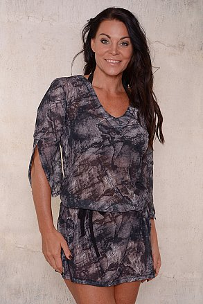 Black pattern beach tunic for ladies from Sunkini.