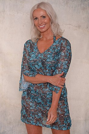 Turquoise butterfly beach tunic for ladies from Sunkini.