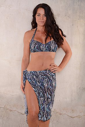 Blue purple zebra pattern long sarong for ladies from Sunkini.