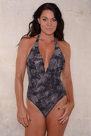 Black pattern swimsuit with lacing for ladies from Sunkini.