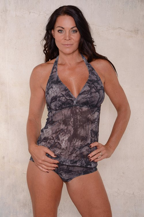 Black pattern tankini/tank top for ladies from Sunkini.