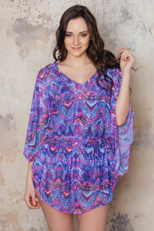 Purple patterned beach tunic from Sunkini