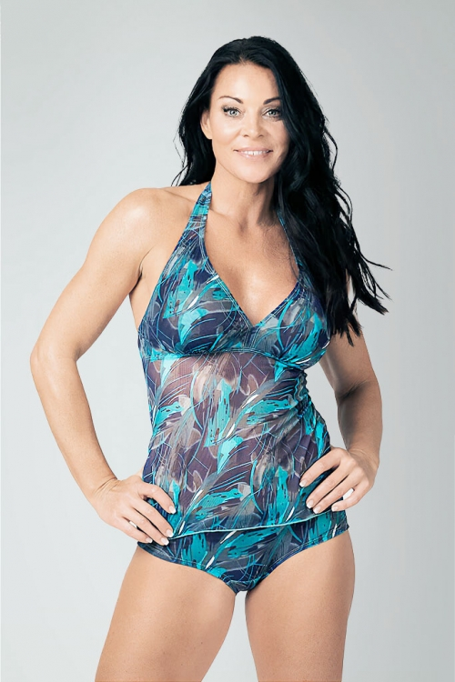 Tankini tank top in blue pattern for women from Sunkini.com