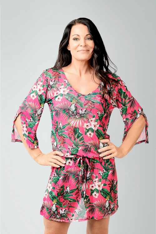 Beach tunic in pink pattern for women from Sunkini.com