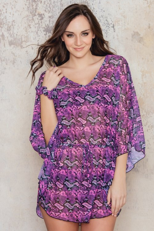 Beach poncho with pink pattern from Sunkini