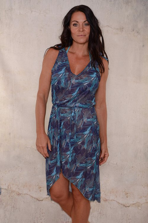 Blue green pattern beachdress for ladies from Sunkini.