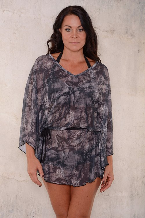 Black pattern beach poncho for ladies from Sunkini.
