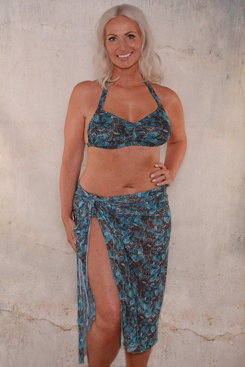 Turquoise butterfly long sarong for ladies from Sunkini.