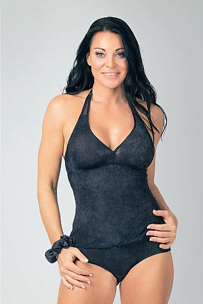 Tankini tank top in black pattern for women from Sunkini.com