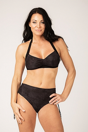 Bikini top with tie straps in black pattern for women from Sunkini.com
