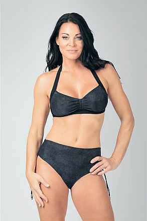 Bikini bottom with high waist in black pattern for women from Sunkini.com