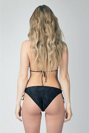Bikini bottom with knots in black pattern for women from Sunkini.com