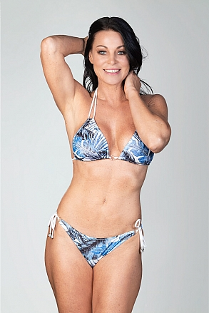 Bikini top in triangular model in blue pattern for women from Sunkini.com