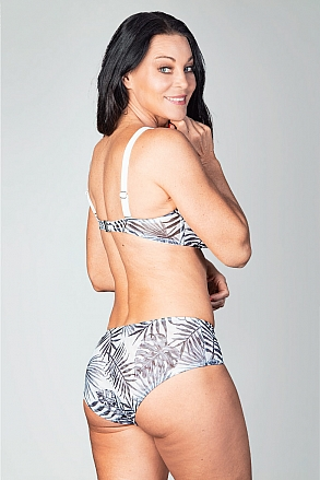 Bikini bottom in hotpants model in black and white pattern for women from Sunkini.com