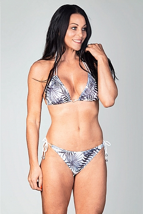 Bikini bottom with knots in black and white pattern for women from Sunkini.com