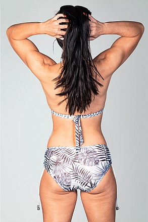 Bikini top with tie straps in black and white pattern for women from Sunkini.com