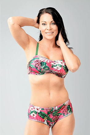 Bikini top with push and removable shoulder straps in pink pattern for women from Sunkini.com