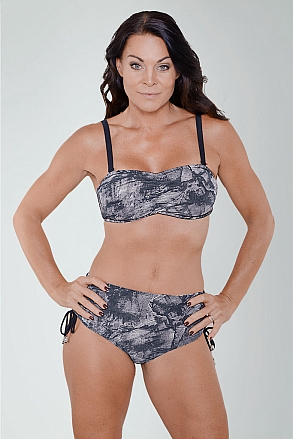 Black pattern bikini top with push for ladies from Sunkini.