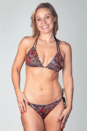 Bikini bottom with knots in red pattern for women from Sunkini.com