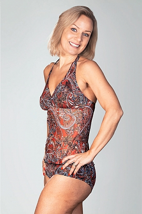 Tankini tank top in red pattern for women from Sunkini.com