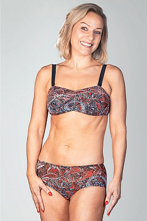 Bikini top with push and removable shoulder straps in red pattern for women from Sunkini.com