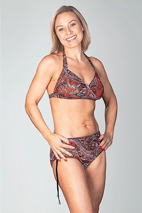 Bikini top with tie straps in red pattern for women from Sunkini.com