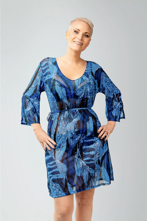 Beach tunic in blue pattern for women from Sunkini.com