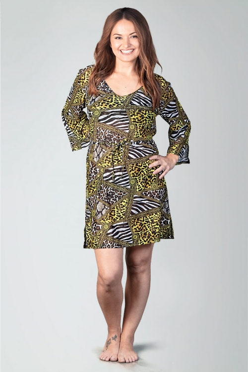 Beach tunic in animal fur pattern for women from Sunkini.com