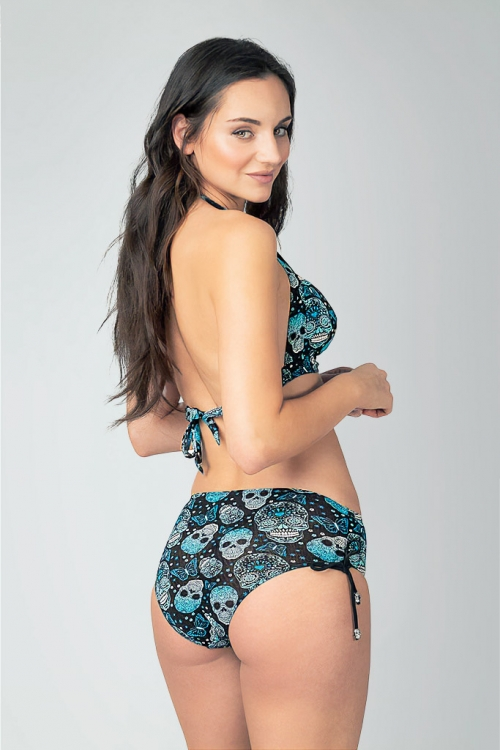 Bikini bottom with high waist in pattern with skulls for women from Sunkini.com