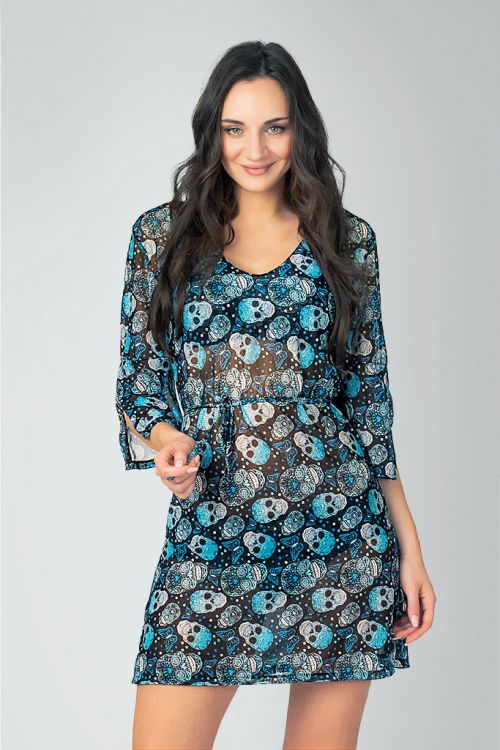 Beach tunic in pattern with skulls for women from Sunkini.com