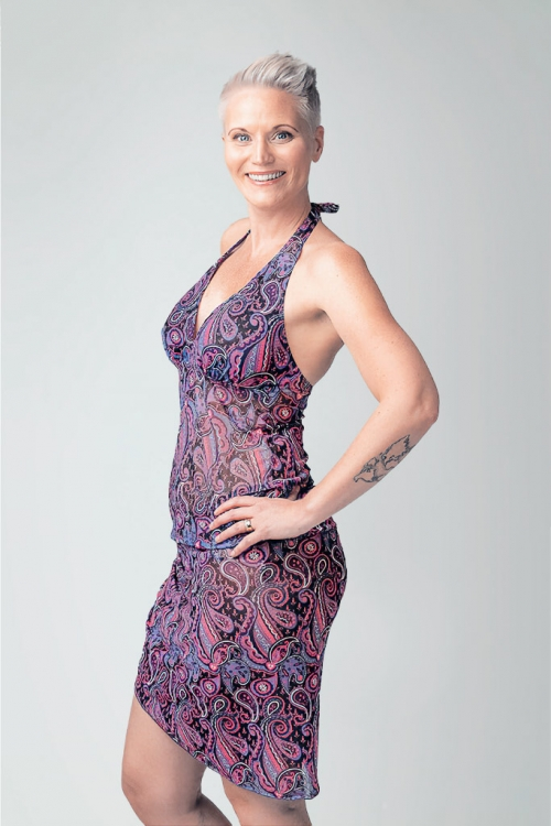 Bikinis and beachwear in purple paisley pattern for women from Sunkini.com