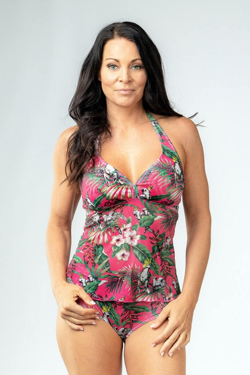 Tankini tank top in pink pattern for women from Sunkini.com