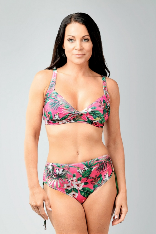 Bikini bottom with high waist in pink pattern for women from Sunkini.com