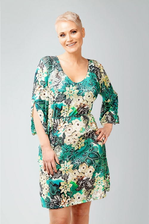 Beach tunic in tropical pattern for women from Sunkini.com