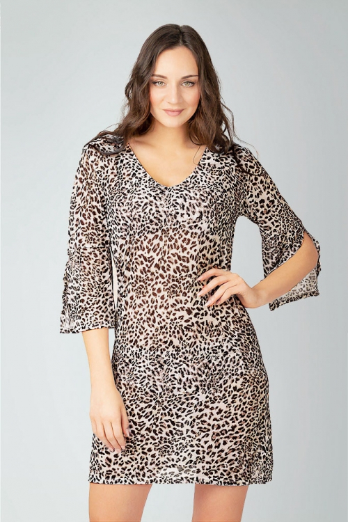 Beach tunic in leopard pattern for women from Sunkini.com